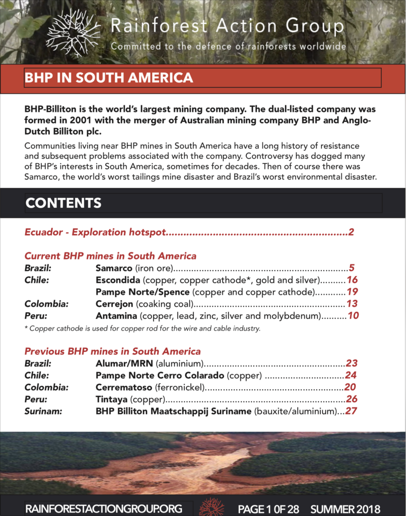 Rainforest Action Group BHP in South America cover
