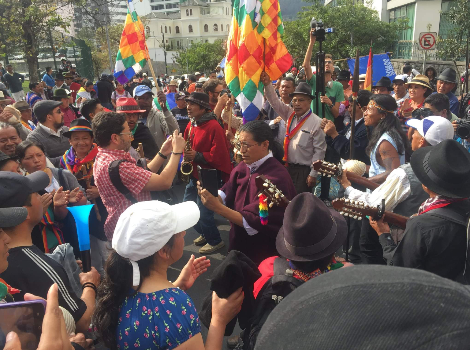 Rainforest Action Group indigenous protestors march against mining Quito 2018