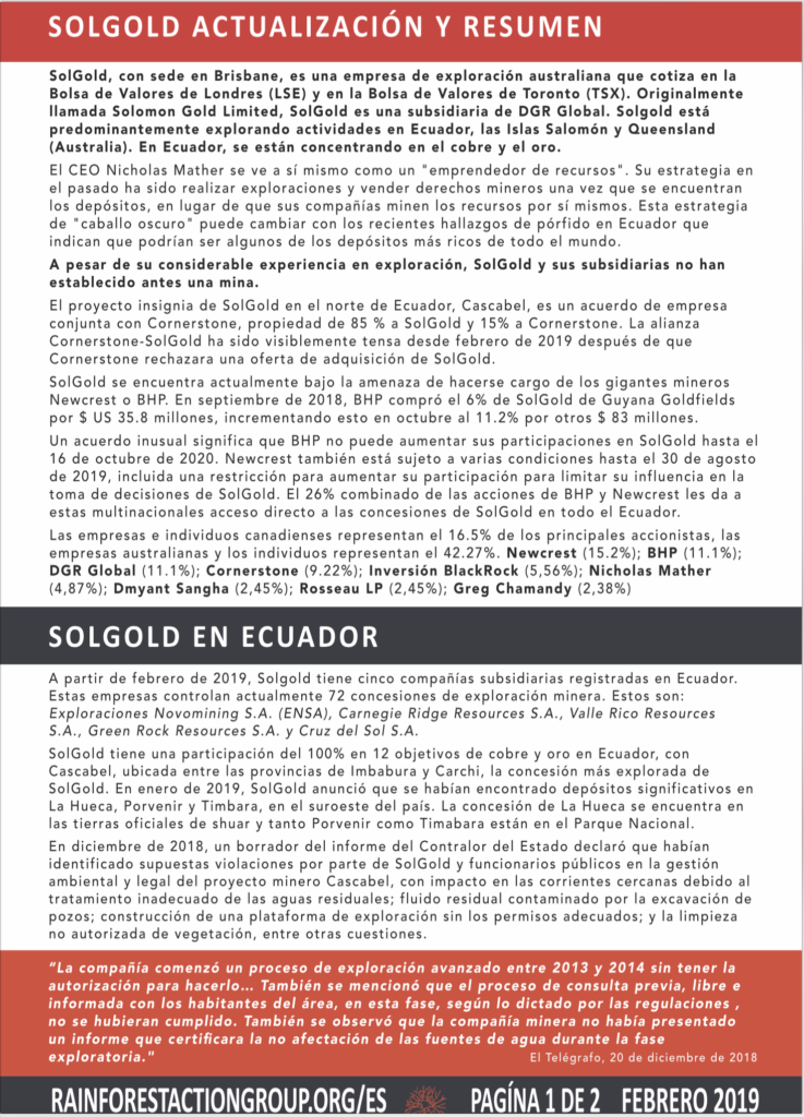RAINFOREST ACTION GROUP SOLGOLD ACTUALIZACION Y RESUMEN