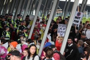 Protestors acting as human smoke alarms