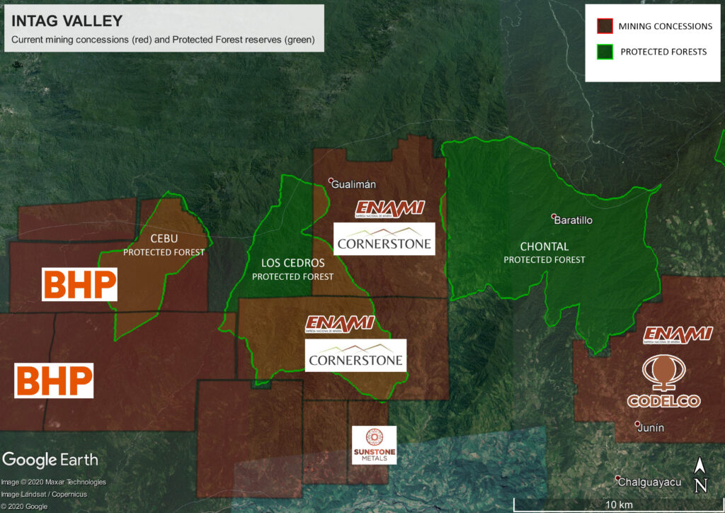 Mining concessions in and around Los Cedros Reserve. Image credit: Rainforest Action Group